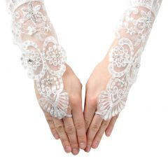 Girls White Clear Bead Lace Mesh Fingerless Communion Flower Girl Gloves