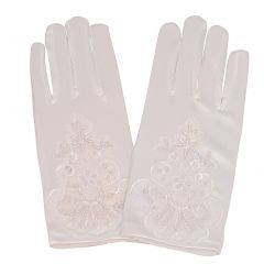 Angels Garment Big Girls White Floral Applique Flower Girl Gloves 7-16