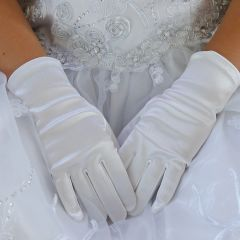 Angels Garment Girls White Soft Short Communion Flower Girl Gloves 0-16