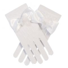 Angels Garment Big Girls White Fishnet Floral Bow Special Occasion Gloves 8-12