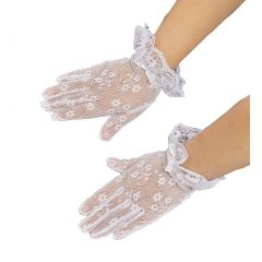 Girls White Lace Bow Accented Communion Flower Girl Gloves (0-3) S-(8-12) L