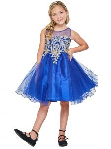 Little Girls Royal Blue Gold Cord Embroidery Wire Hem Christmas Dress 4-6