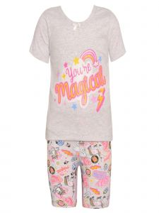 Sol Sleep Little Girls Gray Rainbow Short Sleeved Top 2 Pc Pajama Set 2T-6X