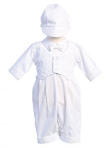 Lito Baby Boys White Embroidered Vest Romper Grayson Christening Outfit 0-18M