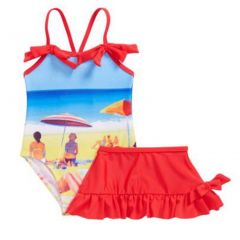 Sol Swim Baby Girls Red Blue Beach Image Print Cover-Up Skirt Swimsuit 12-24M