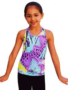 Ice Fire Skating Big Girls Light Blue Butterfly Fusion Racerback Tank Top 6-14