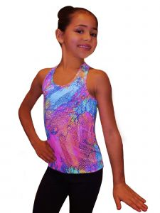 Ice Fire Skating Big Girls Pink Neon Lights Racerback Tank Top 6-14