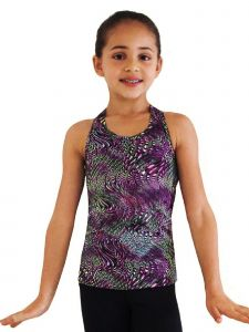 Ice Fire Skating Big Girls Purple Waves Racerback Tank Top 6-14