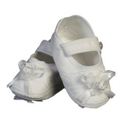 Baby Girls White Cotton Christening Bootie Soft Sole Crib Shoes 1-7 Months