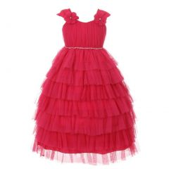 Girls Fuchsia Ruffle Tiered Rhinestone Flower Special Occasion Dress 2-8