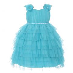 Baby Girls Aqua Ruffle Tiered Rhinestone Flower Special Occasion Dress 6-24M