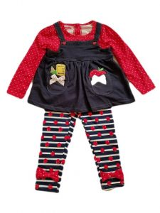 Kids Brand Baby Girls Red Denim Apple Bow Tie Shirt Legging Outfit 12-24M