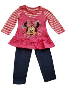 Baby Girls Fuchsia Minnie Mouse Skirted Shirt Legging Outfit 12-24M