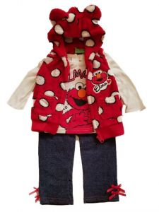 Baby Girls Red Elmo Hooded Vest Long Sleeve Shirt Legging Outfit 12-24M
