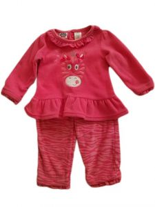 Kids Brand Baby Girls Fuchsia Ruffle Zebra Animal Print Pants Outfit 12-24M
