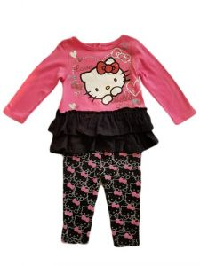 Baby Girls Fuchsia Hello Kitty Long Sleeve Ruffle Shirt Leggings Outfit 12-24M