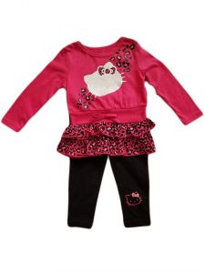 Baby Girls Fuchsia Hello Kitty Animal Print Ruffle Shirt Leggings Outfit 12-24M