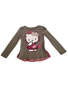 Big Girls Grey Hello Kitty Hearts Long Sleeve T-Shirt 7-10