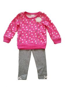 Kids Brand Baby Girls Fuchsia Polka Dot Long Sleeve Top Leggings Outfit 12-24M