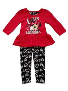 Kids Brand Baby Girls Fuchsia Minnie Mouse Ruffled Top Leggings Outfit 12-24M