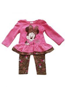 Kids Brand Baby Girls Pink Minnie Mouse Skirted Top Leggings Outfit 12-24M
