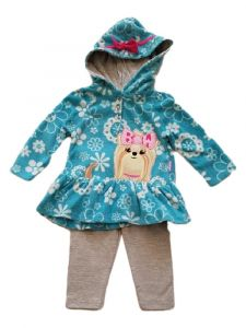 Kids Brand Baby Girls Turquoise Puppy Applique Hoodie Leggings Outfit 6-9M