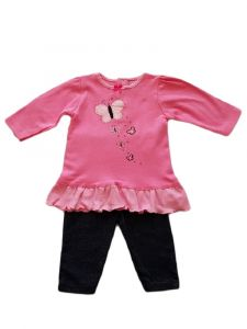 Kids Brand Baby Girls Pink Butterfly Ruffle Long Sleeve Top Leggings Outfit 3-9M