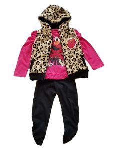 Kids Brand Little Girls Fuchsia Elmo Animal Print Hooded Vest 3 PC Outfit 2-3T