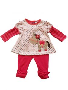Kids Brand Baby Girls Fuchsia Hearts Pony Applique Top Leggings Outfit 6-9M