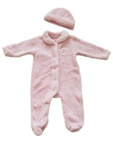 Kids Brand Baby Girls Pink Faux Fur Teddy Bear Hat Footed Romper 3-9M