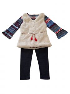 Kids Brand Little Girls Off White Vest Belt Shirt Legging Christmas Outfit 4-6X