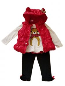 Kids Brand Little Girls Red Hooded Vest Shirt Legging Christmas Outfit 2-4T