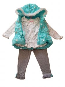 Kids Brand Little Girls Turquoise Hooded Vest Shirt Legging Outfit 2T-6X