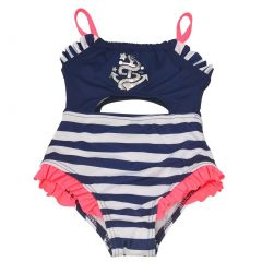 Penelope Mack Baby Girls Navy Stripe Anchor Detail One Piece Swimsuit 12-24M