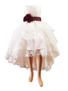 Little Girl Ivory High Low Lace Burgundy Flower Special Occasion Dress 2-6