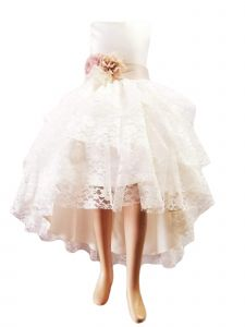 Big Girls Ivory High Low Lace Champagne Flower Junior Bridesmaid Dress 8-12