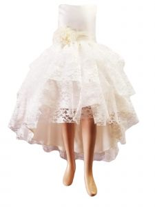 Little Girls Ivory High Low Lace Flower Special Occasion Dress 2-6