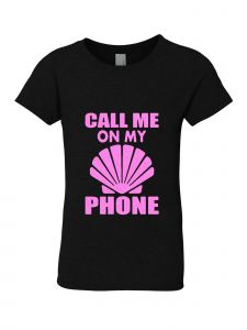 Big Girls Black Glitter Crewneck Call Me On My Phone Short Sleeve Tee 7-14