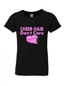 Big Girls Black Glitter Crewneck Cheer Hair Don't Care Short Sleeve Tee 7-14
