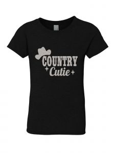 Little Girls Black Glitter Crewneck Country Cutie  Short Sleeve Tee 4-6