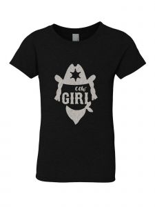 Little Girls Black Glitter Crewneck Cow Girl Short Sleeve Tee 4-6