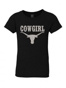 Little Girls Black Glitter Crewneck Cowgirl Long Horn Short Sleeve Tee 4-6