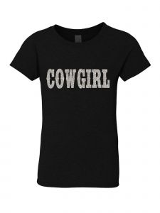 Little Girls Black Glitter Crewneck Cowgirl Short Sleeve Tee 4-6