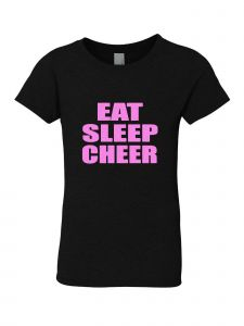 Big Girls Black Glitter Crewneck Eat Sleep Cheer Short Sleeve Tee 7-14