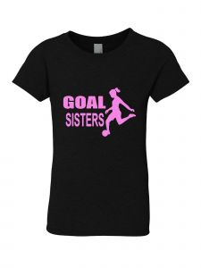 Big Girls Black Glitter Crewneck Goal Sisters Short Sleeve Tee 7-14