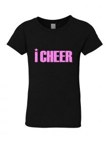 Little Girls Black Glitter Crewneck I Cheer Short Sleeve Tee 4-6