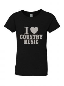 Little Girls Black Glitter Crewneck I Love Country Music Short Sleeve Tee 4-6