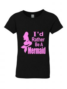 Big Girls Black Glitter Crewneck I'd Rather Be A Mermaid Short Sleeve Tee 7-14