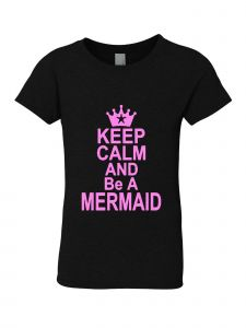 Little Girls Black Glitter Crewneck Keep Clam And Be A Mermaid Short Sleeve Tee 4-6
