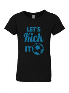 Big Girls Black Glitter Crewneck Let's Kick It Short Sleeve Tee 7-14